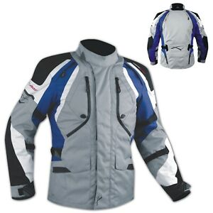 Biker Motorcycle Waterproof CE Armored Textile Touring Jacket Cordura Blue