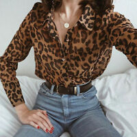 Women V-Neck Leopard Print Top T Shirt Lady Loose Long Sleeve Casual Top Blouse