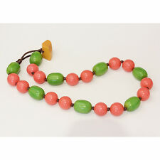 Colourful vintage Bakelite necklace, with apple green and coral beads.