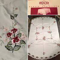 "New FANCO 100% Satin Damask 68"" Round TABLECLOTH & 6 NAPKINS Ivory Purple Floral"