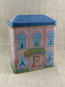 Hallmark 1995 Pink House with Blue Roof Tin