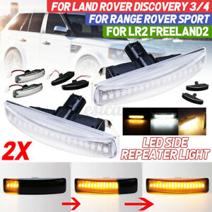 2x Clear Dynamic LED Side Repeater Indicator Light For Range Rover Discovery 3 4