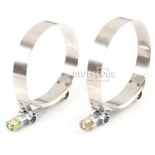 """2x 3"""" inch Turbo Pipe Silicone Hose Coupler T-bolt Clamps Stainless Steel"""