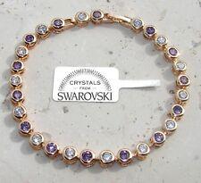 Bracciale tennis pl oro 24 k ,cristalli bianco Viola,Uomo Donna,braccialetto