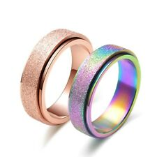 6MM Rose Gold/Rainbow Frosted Spinner Band Titanium Steel Wedding Ring Size 4-11