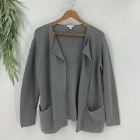 Pure J.Jill Womens Open Cardigan Sweater Size XS Petite Gray Cotton Wool Blend