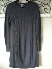 Ibex Melody Merino Wool Cable Sweater Dress Gray Size Large