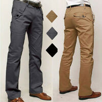 Mens Formal Chino Pants Fit Straight-Leg Jeans Party Wedding Skinny Trousers