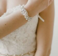 Thin Vintage Style Crystal Rhinestone Silver Bridal Wedding Bracelet With Ribbon