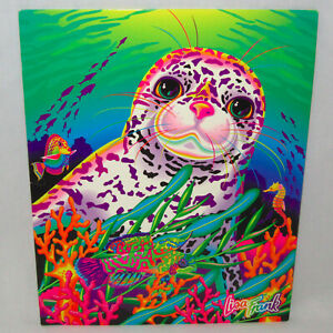 Vintage Lisa Frank 3-Hole Pocket Folder Seal Pup in Rainbow Reef