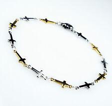Unisex Women's Mens Stainless Steel Gold Silver Tone Cross Beads Bracelet B2