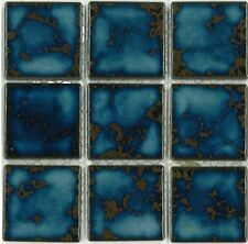 "Fujiwa Porcelain Swimming Pool Waterline Tile - CEL-239 TERRA BLUE 2"" X 2"" PACK2"