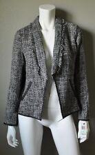 ALFANI Black & White Tweed Fringe Open Front Jacket Blazer sz 8 NWT