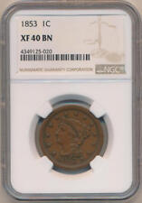 1853 Braided Hair Large Cent,  NGC XF40 Brown