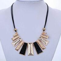 Women Pendant Chain Crystal Choker Chunky bib Statement Necklace Fashion Jewelry