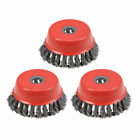 4-Inch Wire Cup Brush Twist Knotted Crimped Steel with 5/8-Inch Arbor Hole 3 Pcs