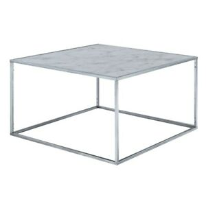 Convenience Concepts Gold Coast Marble Coffee Table, Marble/Silver - 413482S