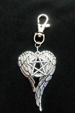 A SUPERNATURAL Pentagram Large Angel Castiel Wings Keyring Handbag Bag Charm