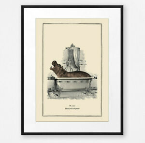 Funny Vintage Surreal Hippo Bathroom Toilet Wall Art Print Old Illustration