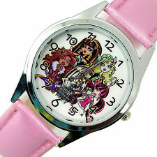 New monster high poupées en cuir rose film movie fille conte de fée montre acier uk W0