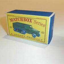 Matchbox Lesney 49 a US Army HalfTrack empty Repro D style Box