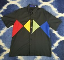 ALAN STUART Mens Shirt Vintage sz L  Black vintage retro bowling M495