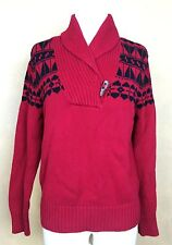 Lauren Ralph Lauren Red Black Navajo Antler Toggle Cotton Shawl Sweater Collar M