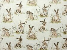 HARES LINEN ANIMAL HARE COTTON MIX CREAM CURTAIN LIGHT UPHOLSTERY FABRIC