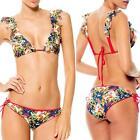 Women Floral Printing Biquini Ruffled Swimsuit Swim Wear Swimwear Bikini