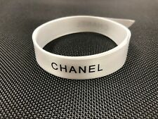 """Authentic Chanel Logo White and Black Satin Ribbon by the Yard New 5/8"""" Inch"""