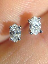 Sparkling! Unique .16CTW Natural Marquis Diamond Earring Studs 14K White Gold