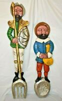 Don Quixote & Sancho Carved & Painted Wooden Spoon/Fork Wall Plaques Pastoral Ar