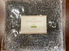 New Pottery Barn Rich Velvet Floral Stitch Pillow Sham Cover Standard Grey NWT