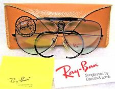 RAY-BAN NOS VINTAGE B&L AVIATOR BLUE *CHANGEABLE BlakChrm SHOOTER NEW SUNGLASSES