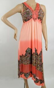 One World Maxi Dress Coral Fusion Paisley, Lace Crochet, New w/ Tag, Medium M