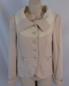 Free People Womens 6 Pale Pink Button Fitted Long Sleeve Jacket EE333