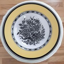 "TABLETOPS UNLIMITED SHEFFIELD black Roses yellow trim white 7 3/4"" Bowl"