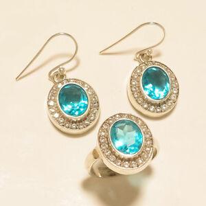 11.90 Gm 925 Sterling Silver AAA+++Blue Topaz Cut Stone Ring & Earring Set M1436