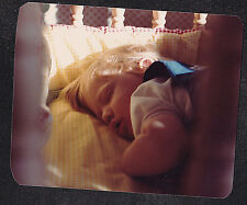 Vintage Photograph Adorable Little Baby Up Close Sound Asleep in Crib