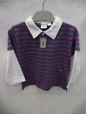 BNWT Boys Sz 0 Cute Purple Stripe Long Layered Polo Top
