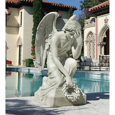 """33"""" Angel of Mourning 19th Century Replica Bowed Kneeling Memorial Statue"""