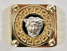 GOLD GENTS RING LARGE MEDUSA HEAD TO WARD OFF EVIL SOLID 9K 375 GOLD SIZE R NEW