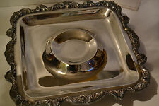 """Silver Footed Serving Platter with Raised Center Dish Area Silver 14"""" by 14"""""""