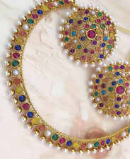 Indian Bollywood Copper Necklace Wedding Gold Plated Multi Fashion Jewelry Party