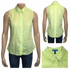 ESCADA Sport Women's Neon Green Sleeveles Buttondown Shirt Size 40  / 12 UK
