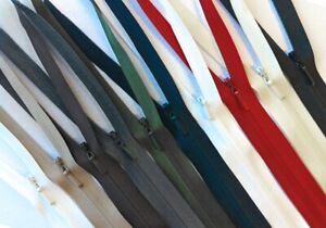 """YKK Invisible (CONCEALED) Zip 56cm / 22"""" CLOSED ENDED - WHOLE Range Of Colours"""