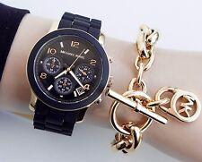 Original Michael Kors Uhr Damenuhr MK5191 Runway Farbe:Schwarz/Gold NEU