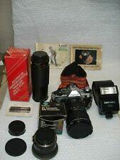 Canon AE-1 Program 35mm Camera - Flash - ROKINON Zoom Lens CANON Flash Bag LOT