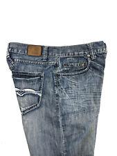 Flypaper Mens Boot Cut Blue Jeans Whiskered Distressed Slub Embellish Size 32x30