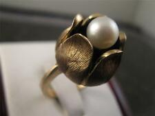 Vintage Solid 10k Solid Yellow Gold Rare Design  Culture Rose Pedal Pearl Ring